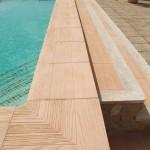 Remate de piscina Canadá y baldosa Azores cerezo